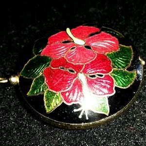 Vtg estate VERY LG puff chinese cloisonne pendant